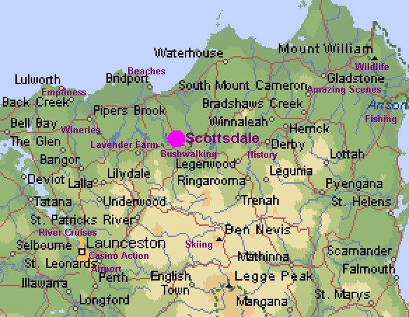 Location of Scottsdale Tasmania Australia